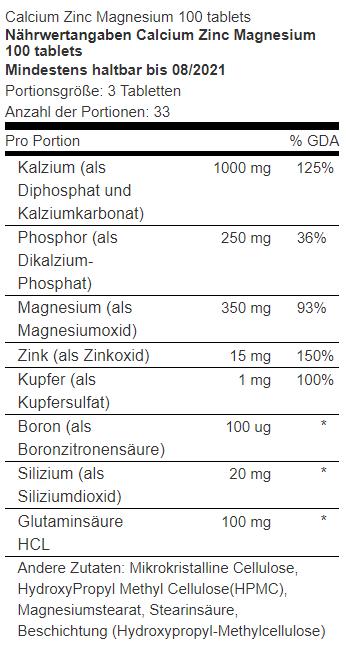 Nährwert Calcium