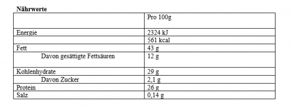 Nährwert Protein Creme